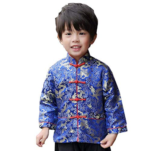 Little Boys Dragon Tang Coat Long Sleeve Chinese Clothing Children Costumes Boy Jackets Outfit Tops (Blue, 16)