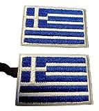 b2see Iron on Bügel Aufnäher Fahne Patches Flicken Aufbügler Bügelbild Applikation Sticker-Ei Flagge Griechenland Athen Set 2 STK jeweils 4,8 x 3 cm