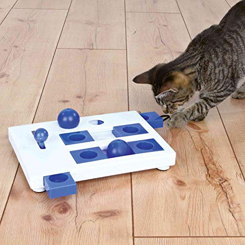 Trixie 4596 'Cat Activity Brain Mover' Juguete para Gatos, 25 x 20 cm, Azul y Blanco