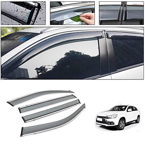 saitake Windabweiser Für Mitsubishi ASX 2013-2019 4PCS Autofenster Visier Sonne Regen Rauchabzug Schatten Klebeband Außenvisiere