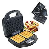 Tostiera Sandwich Maker 3 in 1, Tostapane Piastra per Toast, Waffles Panini, Rivestimento ...