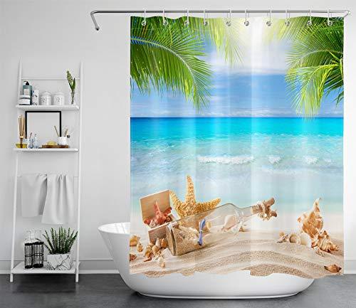 LB Cortina de ducha con diseño de océano turquesa, botella de agua en la playa, hoja de palma verde, poliéster, antimoho, cortinas de baño impermeables con ganchos, 149 x 180 cm