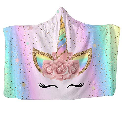 "Unicorn Blanket for Girls Hooded, Kids Pink, Purple Wearable Hood Throw Blankets Wrap, Toddlers Plush Soft Kids Blanket Gift Cozy Magic Cloak 59"" by 51"""