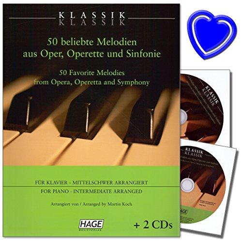 Klassik Klassik - 50 beliebte Melodien für Klavier aus Oper, Operette und Sinfonie - Noten für Klavier für fortgeschrittene Klavierspieler mit bunter herzförmiger Notenklammer