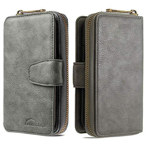 Nadoli für Xiaomi Redmi Note 9S Hülle Handyhülle,Lederhülle Magnetverschluss 10 Kartenfächern Reißverschluss Brieftasche Flip Wallet Cover,Grau