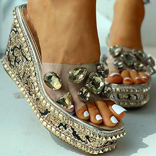 Remaches de Cristal para Mujer Sandalias de Plataforma Transparentes Ocio Zapatillas de Cuña Sandalias Zapatos de
