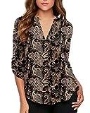 roswear Women's Paisley Print V Neck Cuffed Sleeve Blouse Shirt Black XXL