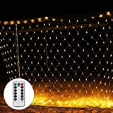 190 LEDs Guirnaldas Neta Luz 3M X 2M, 8 Modes Impermeable de luz de Red Encendido/Apagado Automático Malla Cortina Luces de hada para Navidad Decoración Interior Exterior