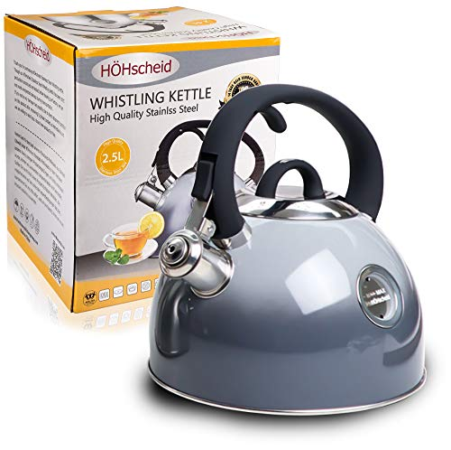 Whistling Kettle HOHSCHEID 1810 Food -Grade Stainless Steel Stovetop Tea Kettles Kettle Body with Visible Window of Maximum Waterline and Tea Pot Ergonomic Cool Handle Gradient grey
