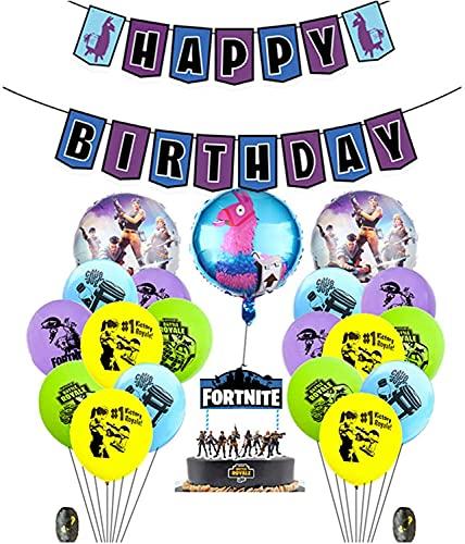 FGen Artículos de Fiestas para Fanáticos de los Videojuegos, Decoraciones para Cumpleaños de Tema de Videojuegos, con Globo, Pancartas, Bandera de la Torta, Cinta (23 PCS)