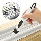 Cepillo de limpieza para marcos de ventana y cajones de XMSSIT, con recogedor, herramienta de limpieza 2 en 1, cepillo extraíble