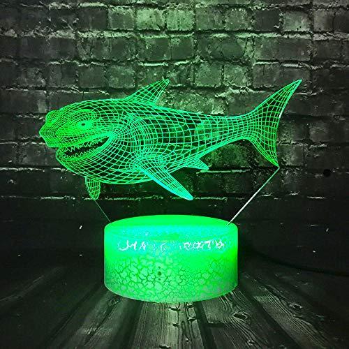 XXDHY Toy Table Crack Usb Change Sensor Luce Notturna Visore Shark Decor Room Sonno Umore Lustro Natale Regalo Di Compleanno Per Bambini Nave Libera 3D Led Light Notte A 16 Colori Illusion Lighting L