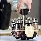 Especias frascos con tapas, latas 6pcs / Set giratoria Tarros Vinagrera Set de condimentos for Spice Vinagrera Set de condimentos Especias Sal Pimienta herramienta Sprays cocina portátil y fácil-A-Cle