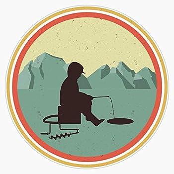 Ice Fishing Fisherman Gift Retro Ice Fishing Gift Sticker Decal Bumper Sticker 5