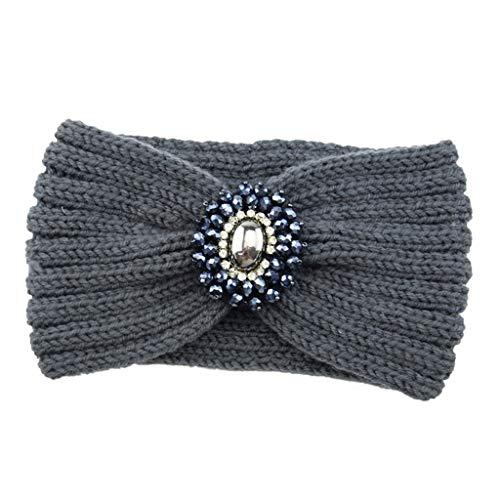 Femmes Bandeau à Tricoter Chaud Hairband Headband Bluestercool (Gris Foncé, Taille unique)