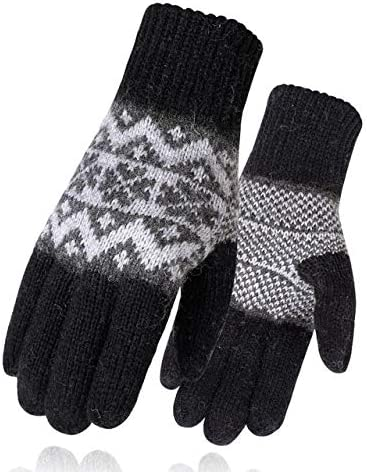 Men Mitten Casual Gloves Knitted Gloves Winter Warm Men&Women Guantes Creative Thicken Gloves Warm Print Quality Gloves - (Color: 1, Gloves Size: One Size)