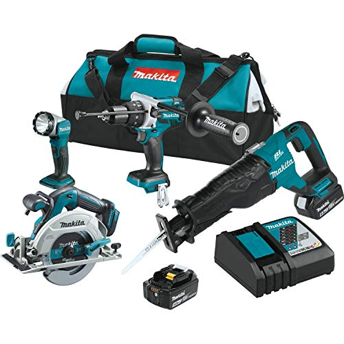 Makita XT448T 5.0 Ah 18V LXT Lithium-Ion Brushless Cordless Combo Kit (4 Piece) (Renewed)