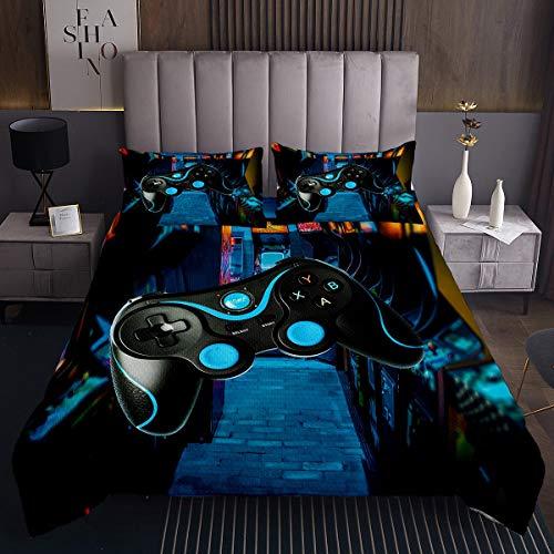Loussiesd Kinder Videospiele Tagesdecke 240x260cm Blau Gamepad Steppdecke für Kinderspiele Bettüberwurf Moderne Spielerkonsole Action Buttons Design Wohndecke 3St