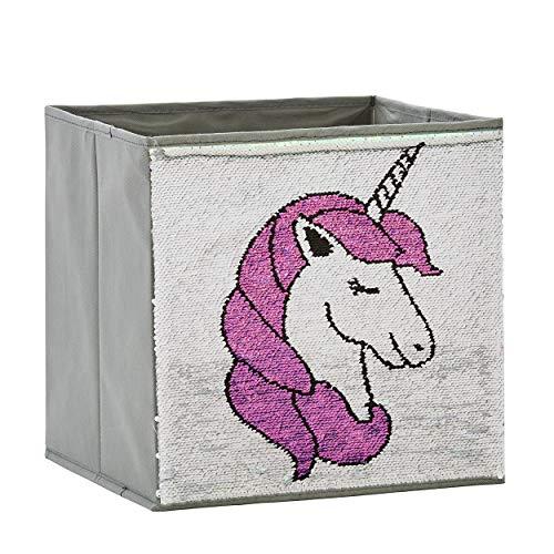 Zauberkiste mit Wendepailetten   Einhorn   32x32x32cm  Spielzeugkiste   Aufbewahrungsbox   Kiste   Store It
