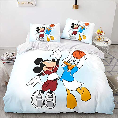ZHYINA Disney Mickey & Minnie Mouse,Mickey Mouse ropa de cama infantil funda nórdica 135 x 200 cm con 1 funda de almohada 80 x 80 cm (A04,135 x 200 cm + 80 x 80 cm x1)