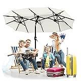 NAIZY Aluminium Doppelsonnenschirm mit Handkurbel, Sonnenschirm Gartenschirm Marktschirm Terrassenschirm mit UV50+ ca. 155 x 300 cm - Creme, Winkelverstellbar