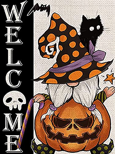 5D Diamond Painting Kit,Diamond Art Kits for Adults,Paint with Diamonds Full Drill Welcome,Halloween Pumpkin Diamond Dots Round for Parents-Children Interrction,Wall Decor,Gift(12x16')