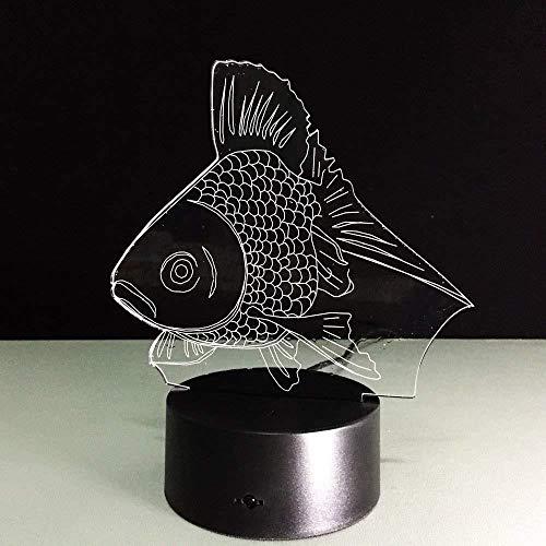 LED tafellamp studiolamp 3D 7 kleuren nachtlicht vis rood LED tafellamp 3D Figura nachtkastje met afstandsbediening