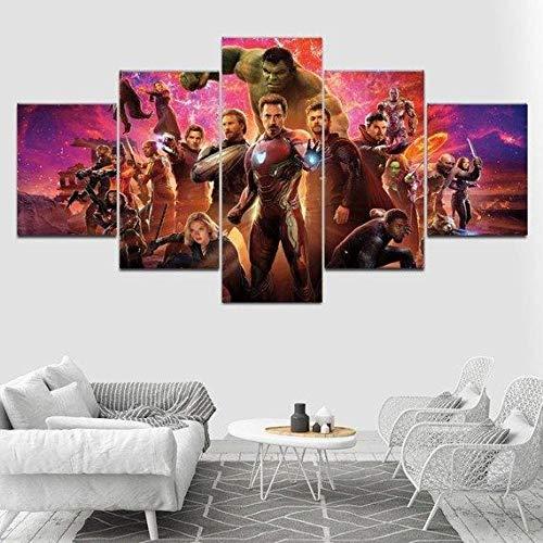 Stampe E Quadri Su Tela Moderni Soggiorno 150 X 80Cm, 5 Pezzi Stampa Su Tela Xxl Immagini Murale Da Parete Poster, Avengers Infinity War – Film Modulari Decorazioni Per La Casa