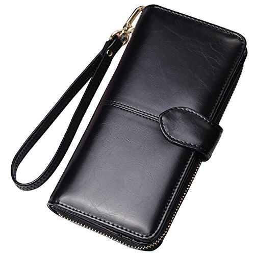 S.LOVE Women Wallet Leather Purse Credit Card Clutch holder Case With Strap Coin Zip Around Large Capacity Black