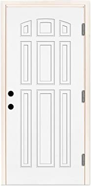 Premium 9-Panel Primed White Steel Entry Door