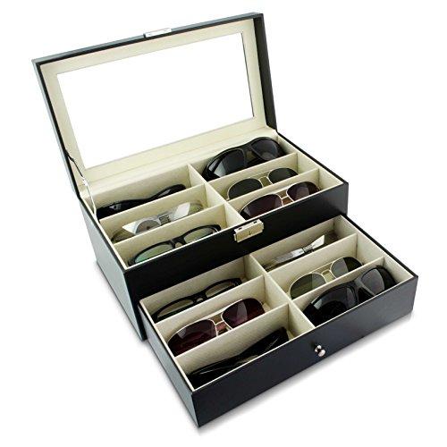 Grinscard Brillenbox zur Aufbewahrung von 12 Brillen - Schwarz ca. 34 x 19 x 16 cm - Sonnenbrillen Präsentation Showcase