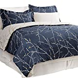 Bedsure King Comforter Sets Comforters for King Bed King Bed in A Bag 8 Pieces Navy Blue Tree Branch -1 Comforter, 2 Pillow Shams, 1 Flat Sheet, 1 Fitted Sheet, 1 Bed Skirt, 2 Pillowcases