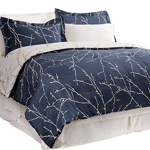 Bedsure 6 Pieces Twin Size Bed in A Bag - All Season Tree Branch Floral Pattern - Navy/Ivory Bed Comforter Set (1 Comforter, 1 Pillow Sham, 1 Flat Sheet, 1 Fitted Sheet, 1 Bed Skirt, 1 Pillowcase)