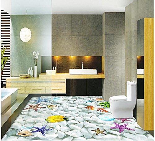 Mznm Custom Photo Wallpaper 3D vloerbedekking schilderen wallpaper 3D Shell Starfish Bai Maji stenen vloer vaste stenen behang woonkamer 120 x 100 cm.