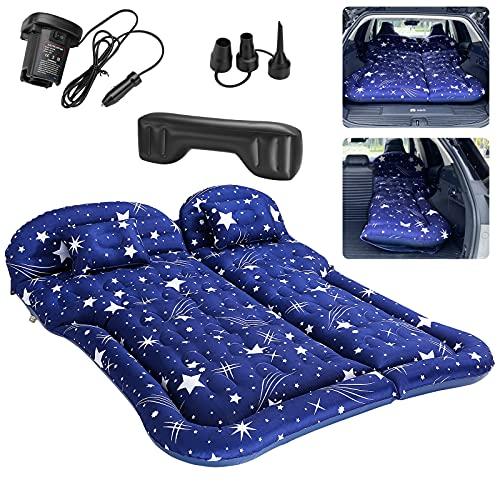 SINJYUN SUV Matratze für Auto Reisen, Auto Luftmatratze SUV für Camping, SUV Aufblasbare Matratze mit Kissen (Blau)