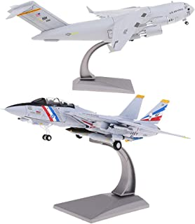 perfektchoice USA C-17 Transport Globemaster III Diecast Alloy Military Airplane & F-14 Tomcat, Includes Alloy Stand, Teens Adults Collectibles