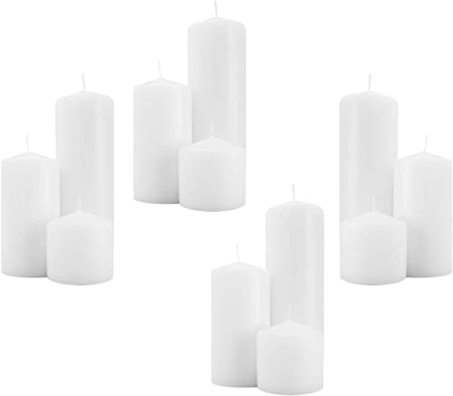 discount Royal Imports 3 Inch Pillar Candles (12 Candles - 4 of Each new arrival 3x3, 3x6, 3x9) White Unscented Premium Wax for Wedding, Spa, Party, Birthday, Holiday, Bath, Home Decor, 4 high quality Sets online