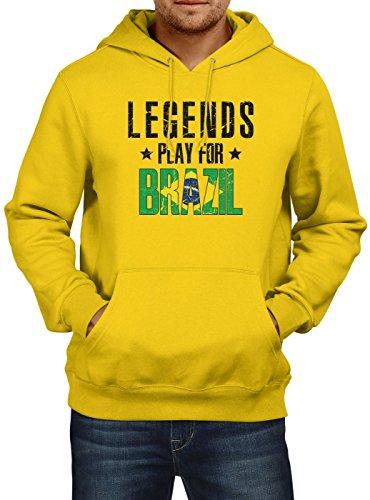 Shirt Happenz Brasilien Weltmeisterschaft 2018#28 Premium Hoodie Fan Trikot Fußball WM Nationalmannschaft Herren Kapuzenpullover, Farbe:Gold (Gold JH001);Größe:XL