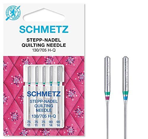 SCHMETZ Nähmaschinennadeln | 5 Quilt-Nadeln (Stepp-Nadeln) | Nadeldicken 3X 75/11 und 2X 90/14 | Nähset | 130/705 H-Q | auf jeder gängigen Haushaltsnähmaschine einsetzbar