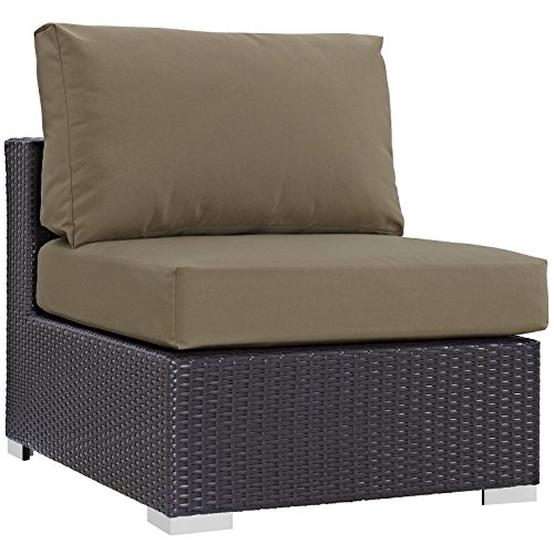 Modway Convene Wicker Rattan Outdoor Patio Sectional Sofa Armless Chair in Espresso Mocha