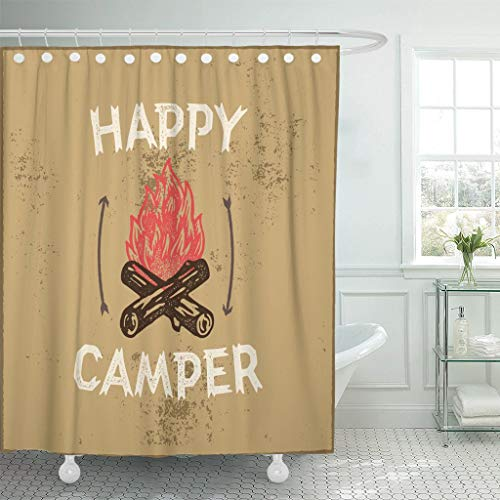 LongTrade Cortina de baño Shower Curtain Shower Curtain Fire Happy Camper Hand Lettering Emblem Campfire Woodcut Active Waterproof Polyester Fabric Set with Hooks 48