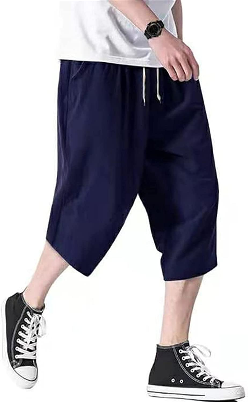Men's Casual Loose 3 4 Pants Cotton Choice Short Linen Yoga Fashion Big Pocket