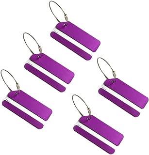 Aluminum Luggage Tags,Baggage Tags Travel Tags for Bag Tags ID Card(Purple 5pcs)
