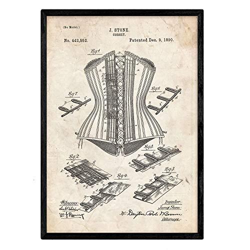 Nacnic Poster con Patente de Corset. Lámina con diseño de Patente Antigua en tamaño A3 y con Fondo Vintage