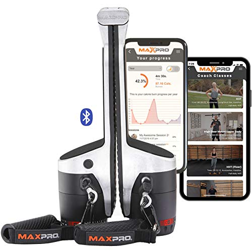 MAXPRO Fitness Portable Smart Home Gym | All-in-One Cable Machine w/Bluetooth - Build, Burn & Tone. Strength, HIIT, Plyo. (Powerful 5-300lbs Concentric Resistance) (Raw Metal (SmartConnect))