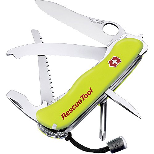 Victorinox Rescue Tool Swiss Army Pocket Knife, Large, Multi Tool, 13 Functions, Window Breaker, Saw, Yellow
