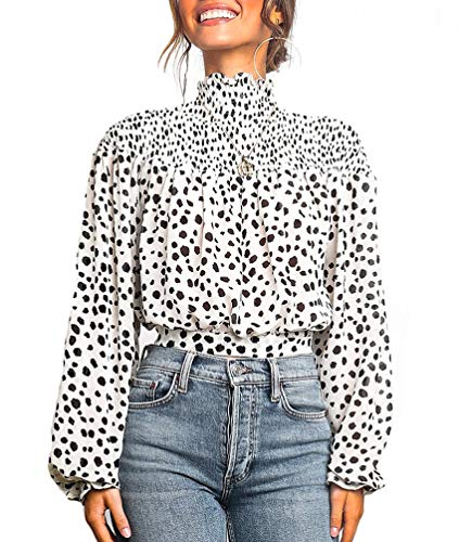 KUFV Women's Floral Print Turtleneck Long Sleeve Casual Loose Blouse Shirt Crop Tops