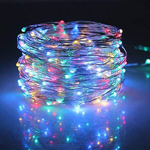 ALLOMN - Guirnalda de luces solares para exteriores, 10 m, 100 luces LED, 2 modos de alambre de cobre, impermeable IP44, para patio, puerta, patio, boda, decoración de fiestas, color blanco cálido