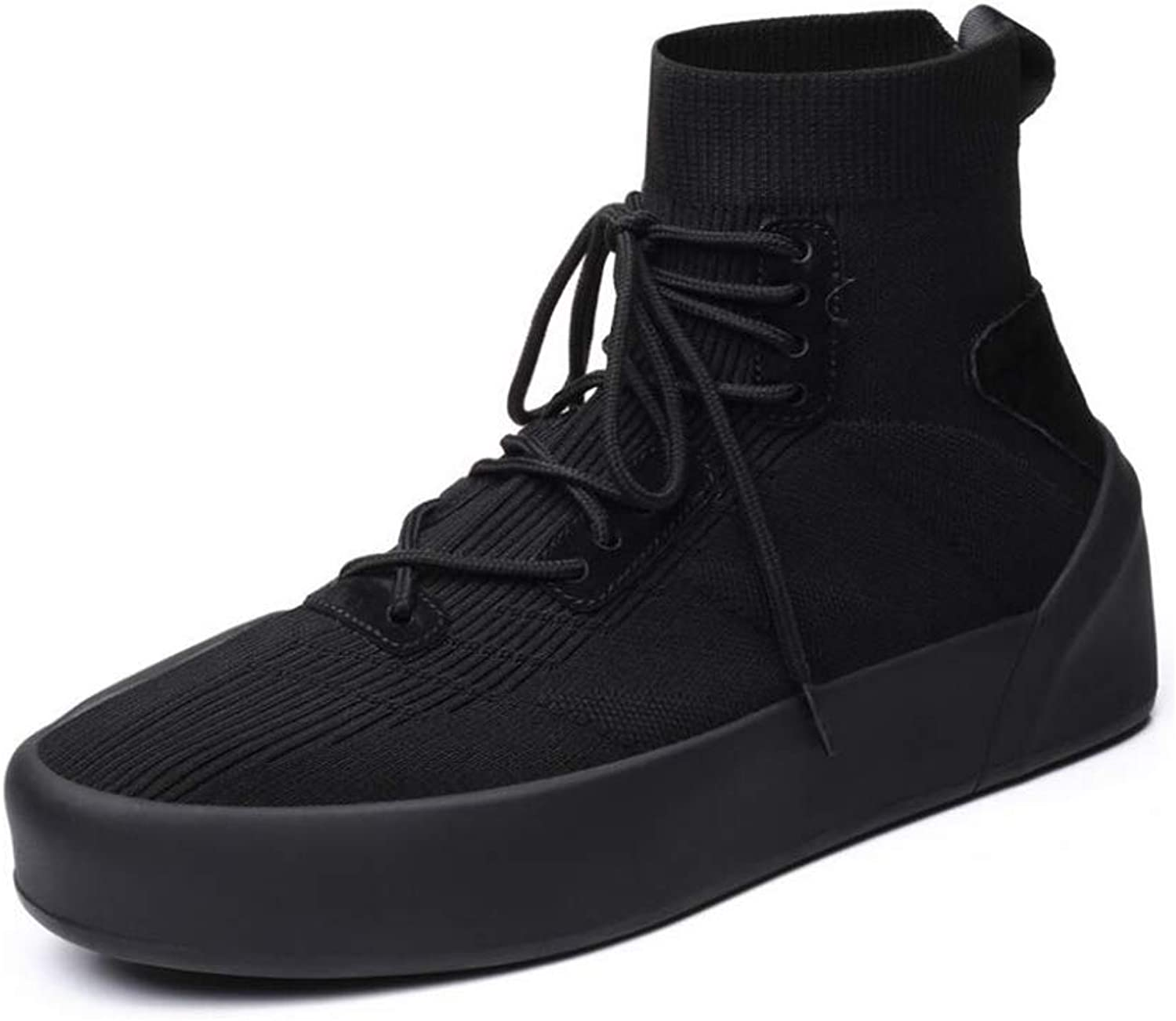 Men's shoes, Spring Autumn Fashion Sneakers Sports shoes Casual Elastic Fly Woven High-Top Walking Running shoes,B,38