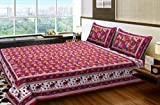 BhagwatiUdyog Pure Cotton Handprinted Traditional Jaipuri Double Bed Sheet with 2 Pillow Covers for Home, Room D�cor